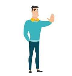 Caucasian businessman showing stop hand gesture vector image vector image
