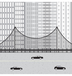 Cityscape with highway cars bridge and skyscraper vector image