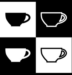 Cup sign black and white icons and line vector