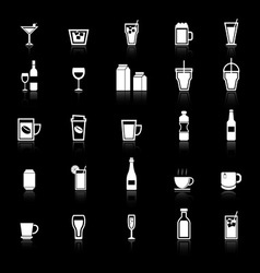 Drink icons with reflect on black background vector