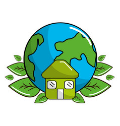 earth planet with leaves and house icon vector image