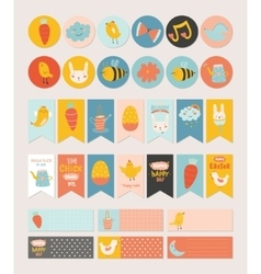 Easter greeting cards gift tags stickers vector image