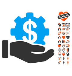 Financial development gear hand icon with vector