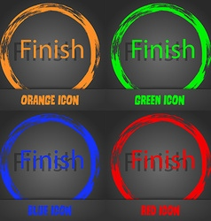 Finish sign icon power button fashionable modern vector
