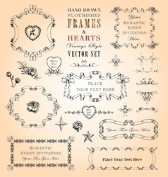 Flourishes Frames and Hearts Set vector image vector image