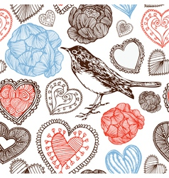 Hearts and bird vector image vector image
