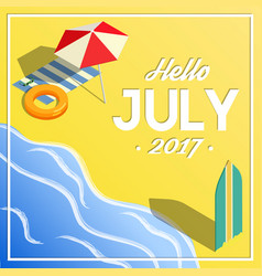 Hello july summer vacation isometric banner vector