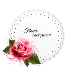 Holiday background with red pink flower and gift vector