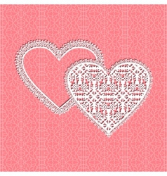 lace heart frame with floral pattern on lace backg vector image