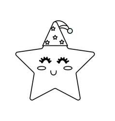 Line nice star shiny with sleep hat design vector