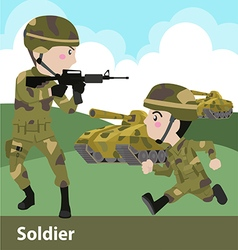 Military soldier weapon cartoon flat vector