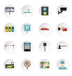 Parking icons set flat style vector