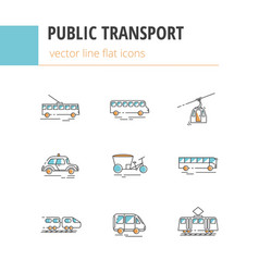 Public city transport flat color linear vector