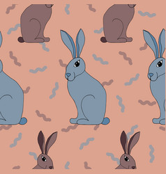 seamless pattern with lovely hand-drawn rabbits vector image