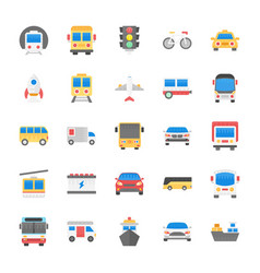 set of transport flat icons vector image