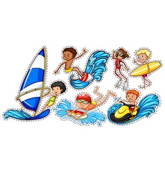 Sticker set of people doing water sports vector image vector image