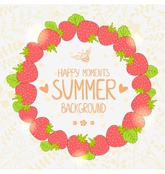 strawberry wreath vector image vector image