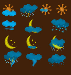 Weather icons with strokes vector