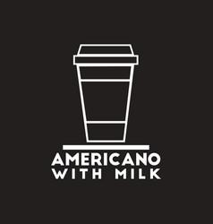 White icon on black background americano vector
