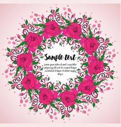 wreath with pink roses vector image