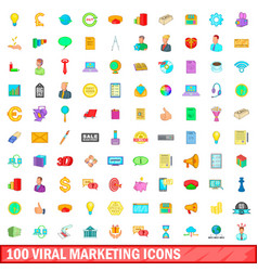 100 viral marketing icons set cartoon style vector image vector image