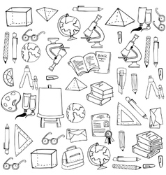 Hand draw school element doodles vector image