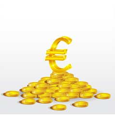 Symbol of gold euro with coins vector