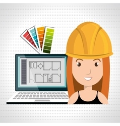 Woman architect laptop tool vector