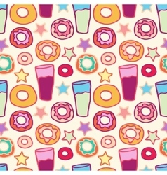 Pattern sweet donuts vector
