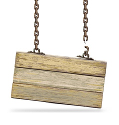 Old color wooden board with rusty chain vector image