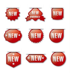 glossy new advertising badges vector image