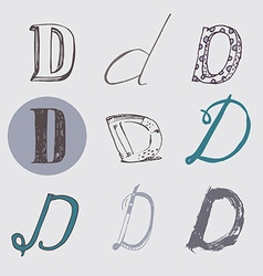 Original letters d set isolated on light gray vector