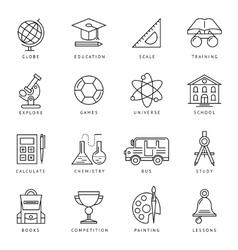 Monochrome school icon set vector
