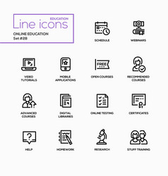 Online education - modern single line icons vector