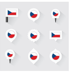 Czech republic flag and pins for infographic and vector