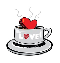 Sketch drawing heart in coffee cup vector