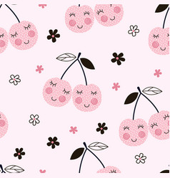 seamless pattern with abstract cherries vector image