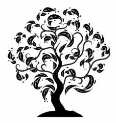 tree silhouette old grass vector image