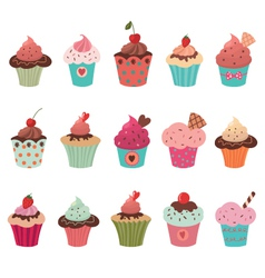 delicious yummy cupcakes set vector image