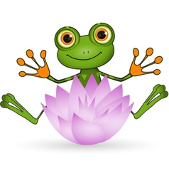 Frog and flower vector
