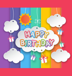 Happy birthday clouds and rainbow sky background vector