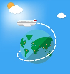 Airplane fly around the planet vector