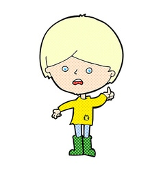 Comic cartoon unhappy boy vector