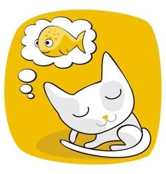 Cute Cat Dreaming vector image
