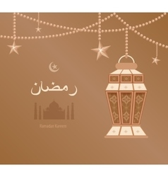 Beige arabesque tracery ramadan vector