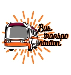 Color vintage bus transportation emblem vector