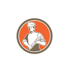 Chef cook rolling pin circle retro vector