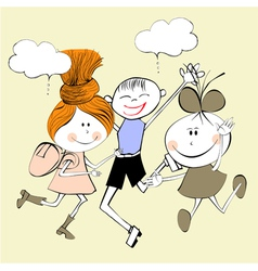 children laughing vector image