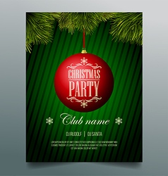 Christmas party flyer template - red bauble vector
