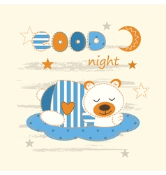 Cute baby background with sleeping bear vector